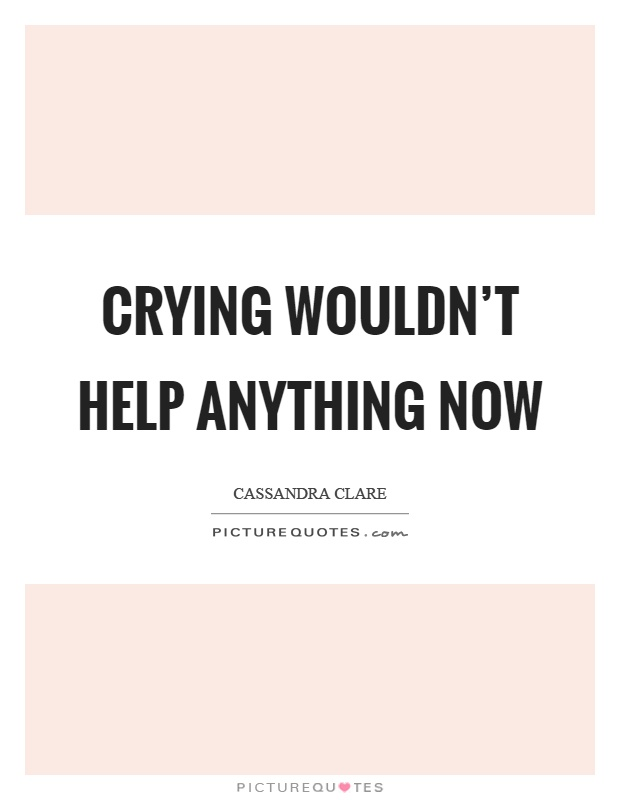 Crying wouldn't help anything now Picture Quote #1