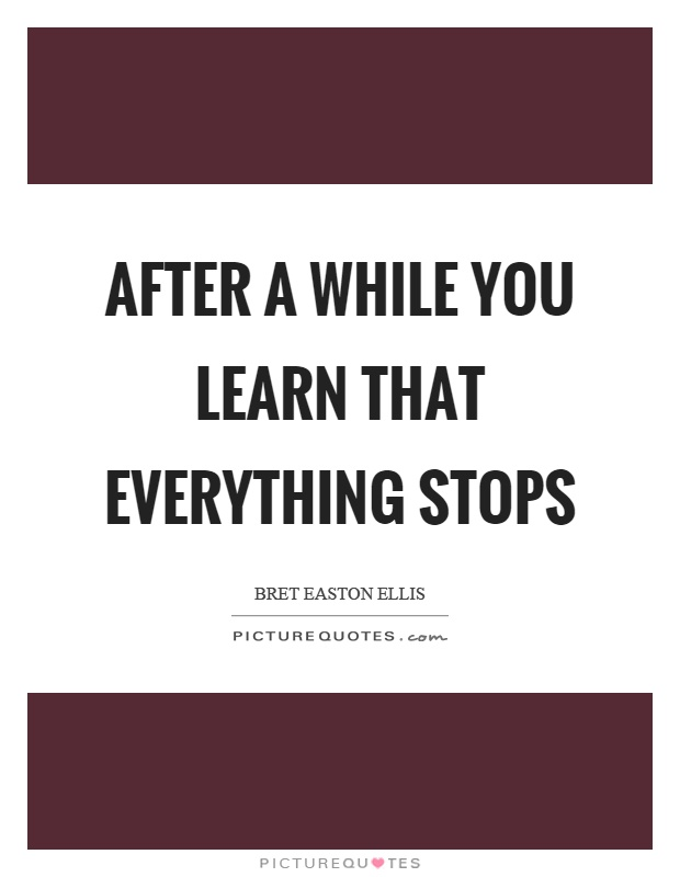 After a while you learn that everything stops Picture Quote #1