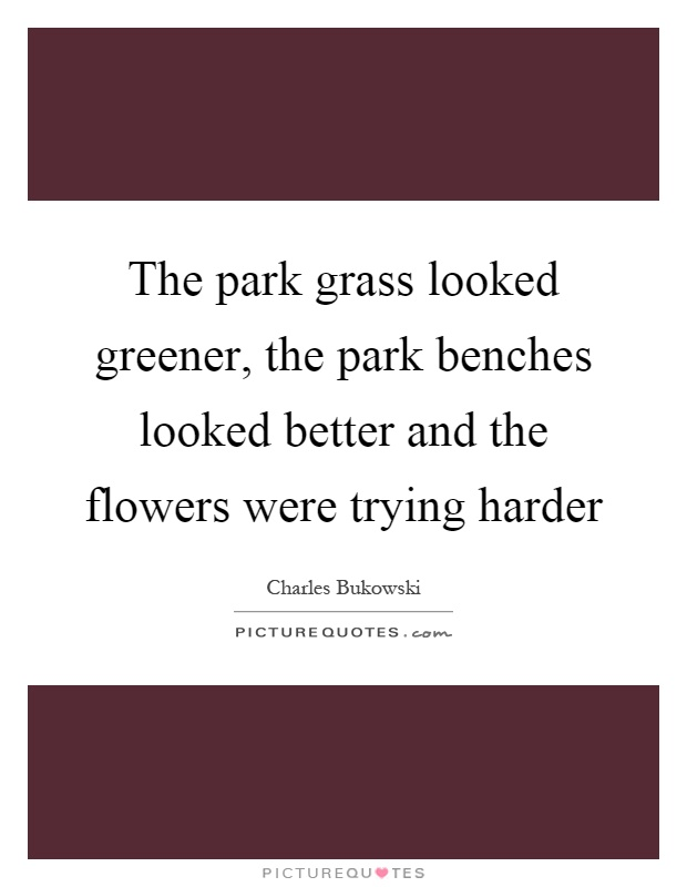 The park grass looked greener, the park benches looked better and the flowers were trying harder Picture Quote #1