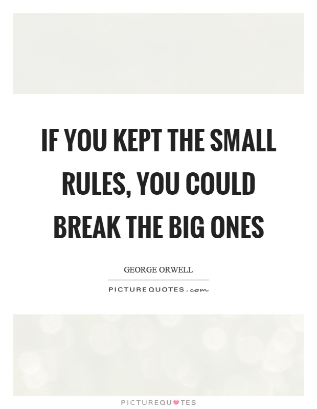 If you kept the small rules, you could break the big ones Picture Quote #1