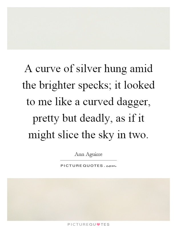 A curve of silver hung amid the brighter specks; it looked to me like a curved dagger, pretty but deadly, as if it might slice the sky in two Picture Quote #1