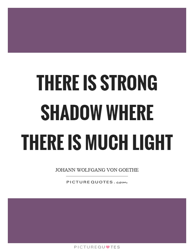 There is strong shadow where there is much light Picture Quote #1