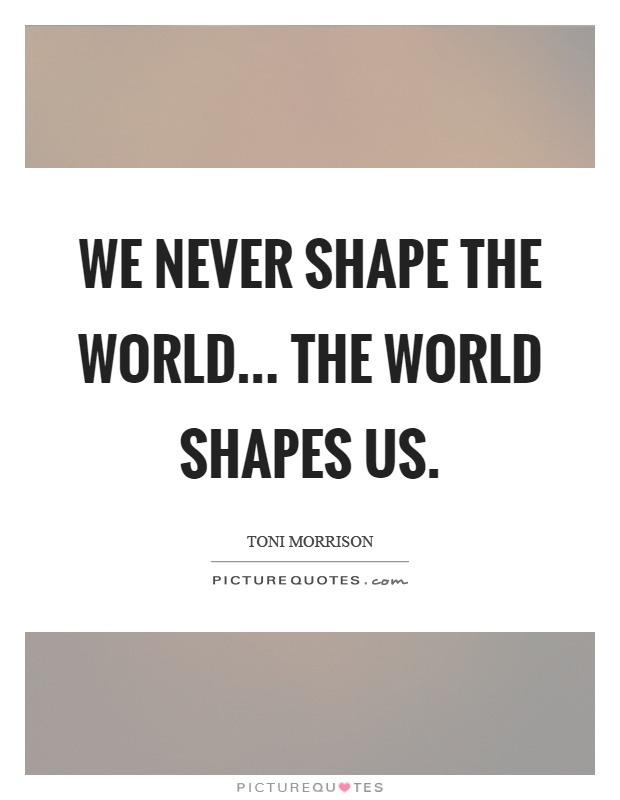 We never shape the world... the world shapes us Picture Quote #1
