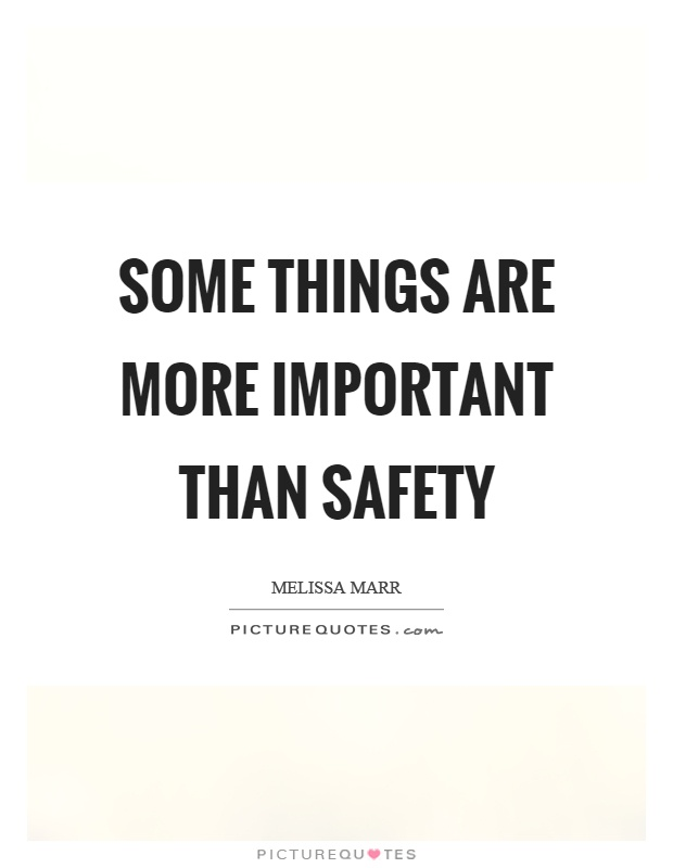 Some Important Quotes Extraordinary Some Things Are More Important Than Safety  Picture Quotes