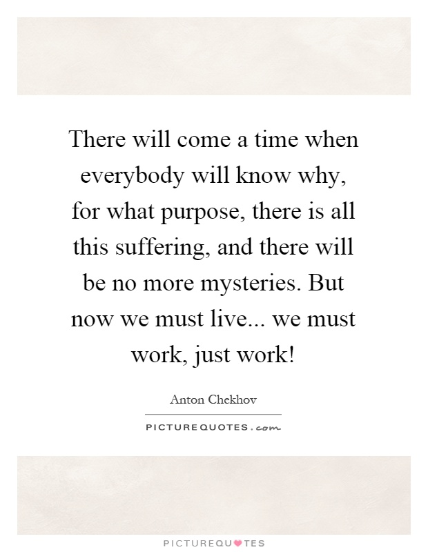 There will come a time when everybody will know why, for what purpose, there is all this suffering, and there will be no more mysteries. But now we must live... we must work, just work! Picture Quote #1