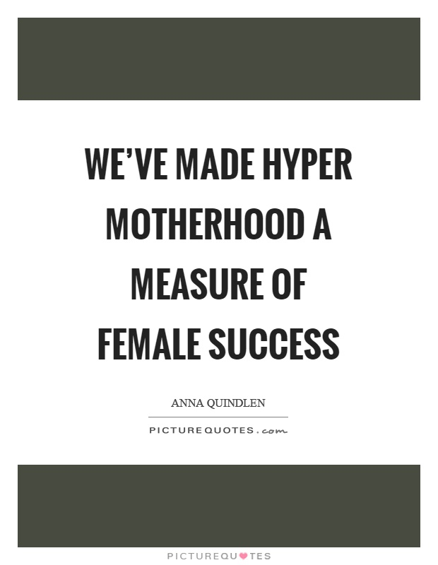 We've made hyper motherhood a measure of female success Picture Quote #1