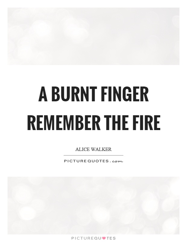 A burnt finger remember the fire Picture Quote #1
