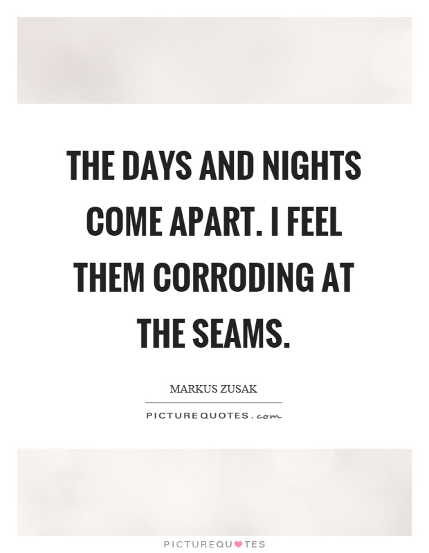 The days and nights come apart. I feel them corroding at the seams Picture Quote #1