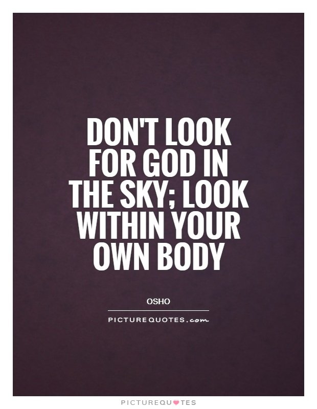 Don't look for God in the sky; look within your own body Picture Quote #1