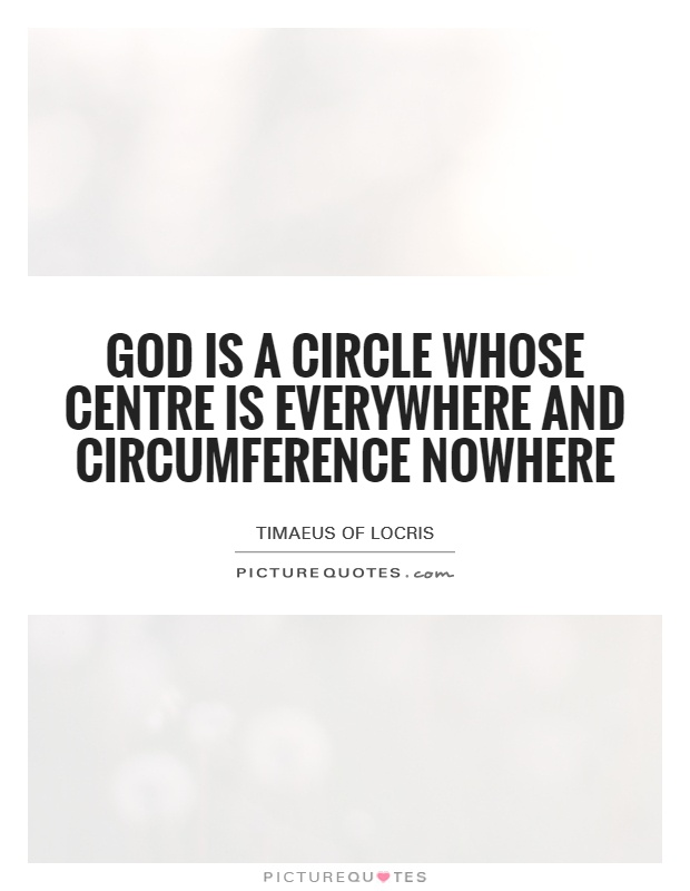 God is a circle whose centre is everywhere and circumference nowhere Picture Quote #1