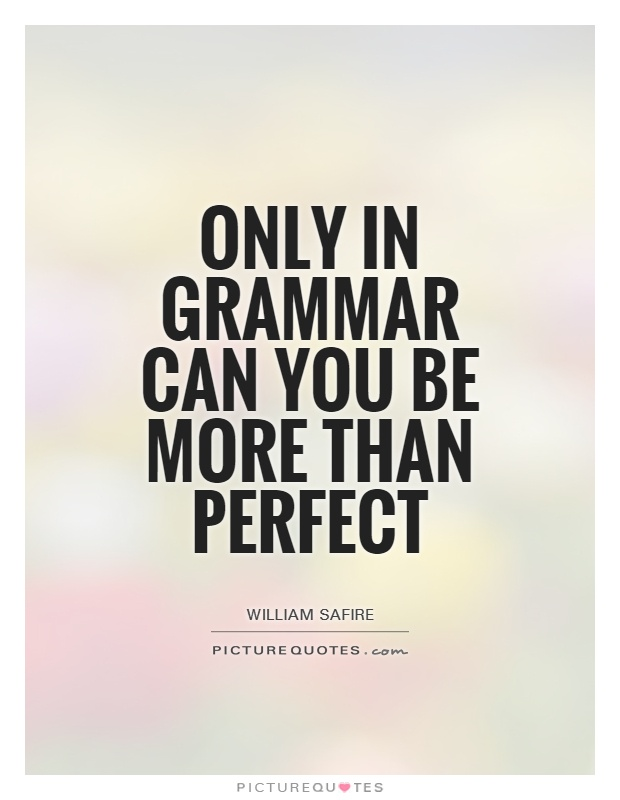 Only in grammar can you be more than perfect Picture Quote #1