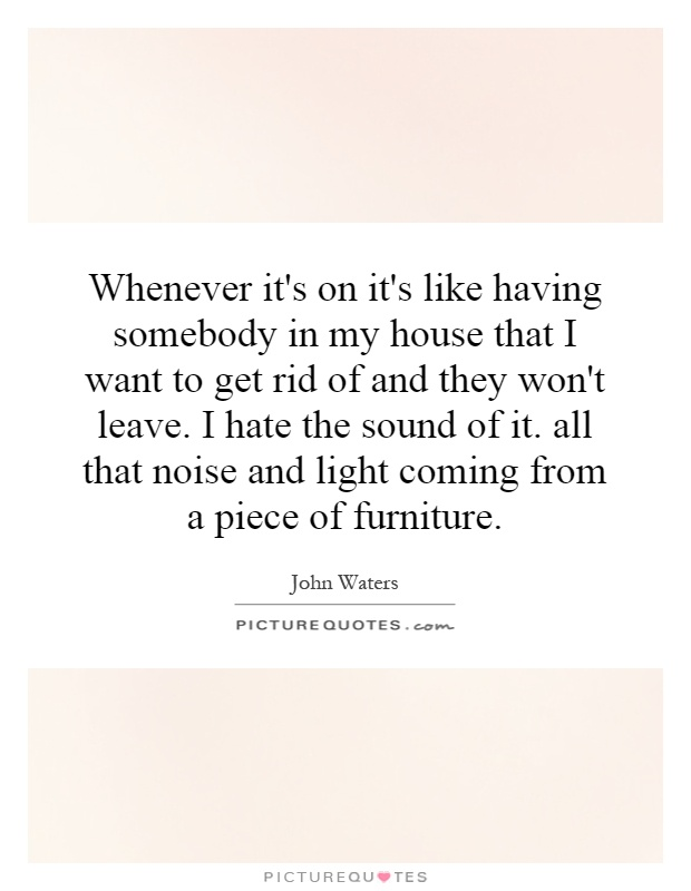 Whenever it's on it's like having somebody in my house that I want to get rid of and they won't leave. I hate the sound of it. all that noise and light coming from a piece of furniture Picture Quote #1