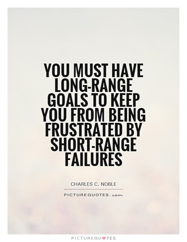 You must have long-range goals to keep you from being frustrated by short-range failures Picture Quote #1