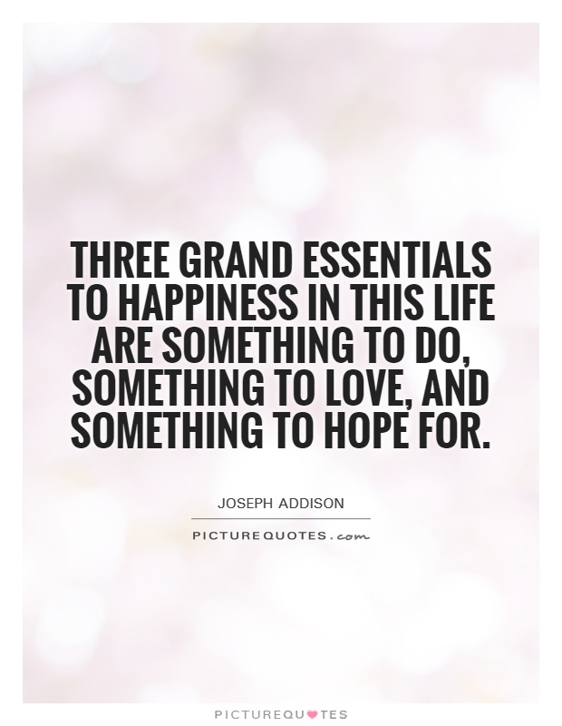 Three grand essentials to happiness in this life are something to do, something to love, and something to hope for Picture Quote #1