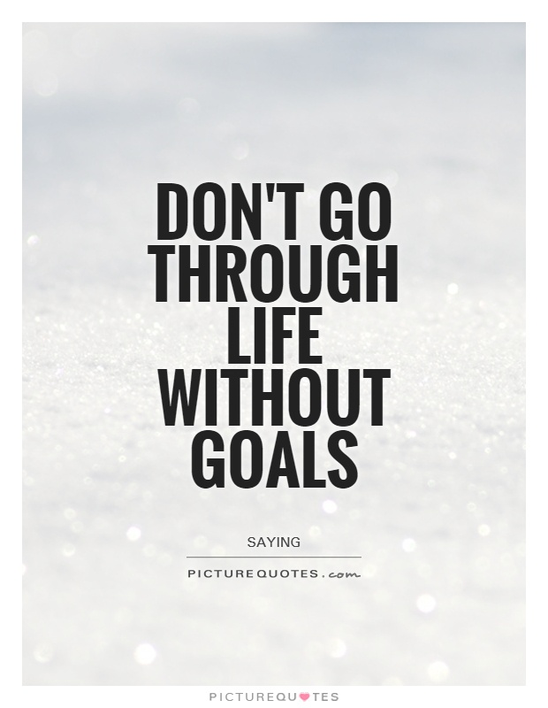 Don't go through life without goals Picture Quote #1