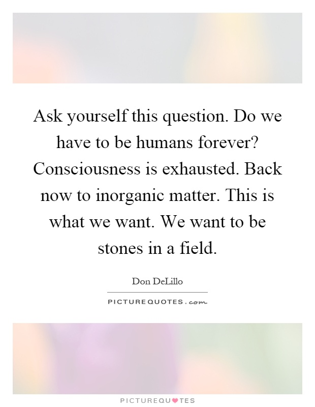 Ask yourself this question. Do we have to be humans forever? Consciousness is exhausted. Back now to inorganic matter. This is what we want. We want to be stones in a field Picture Quote #1