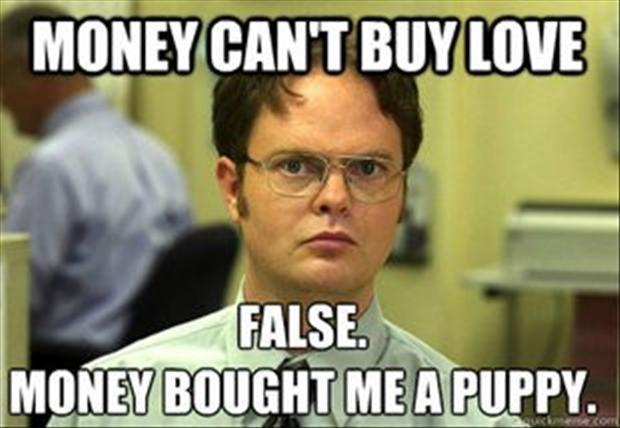 Money can't buy love. False. Money bought me a puppy Picture Quote #1