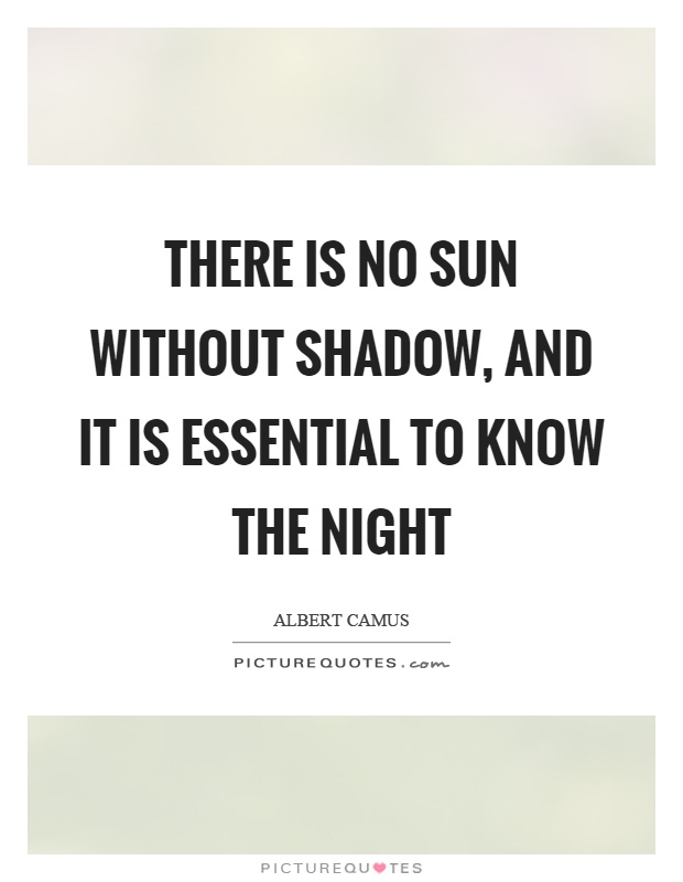 There is no sun without shadow, and it is essential to know the night Picture Quote #1