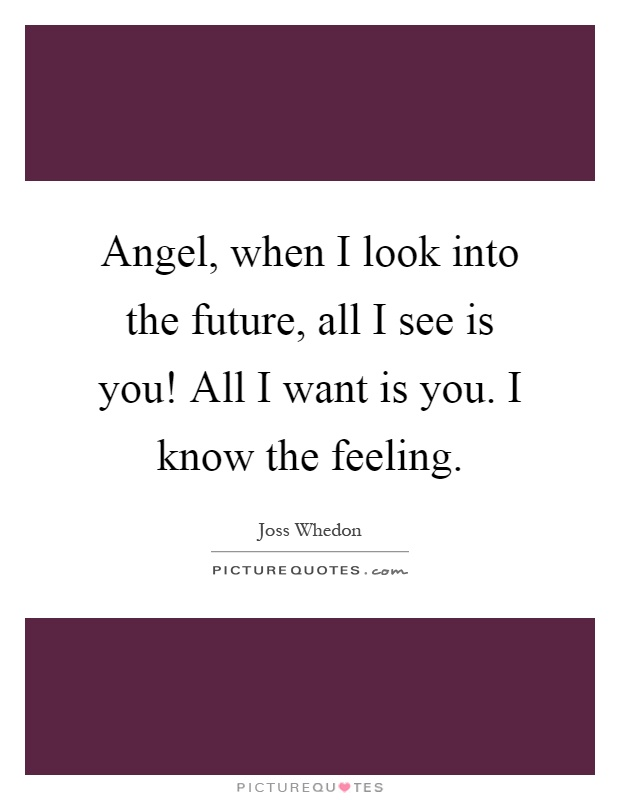 Angel, when I look into the future, all I see is you! All I want is you. I know the feeling Picture Quote #1