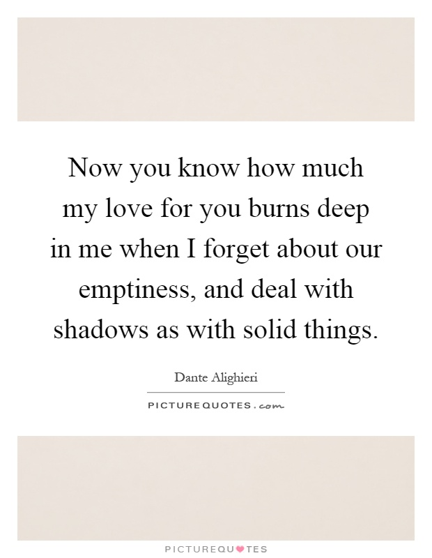 Now you know how much my love for you burns deep in me when I forget about our emptiness, and deal with shadows as with solid things Picture Quote #1