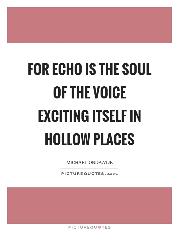 For echo is the soul of the voice exciting itself in hollow places Picture Quote #1
