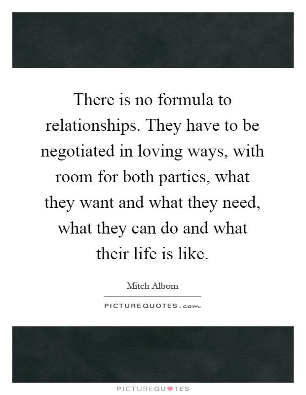 There is no formula to relationships. They have to be negotiated in loving ways, with room for both parties, what they want and what they need, what they can do and what their life is like Picture Quote #1