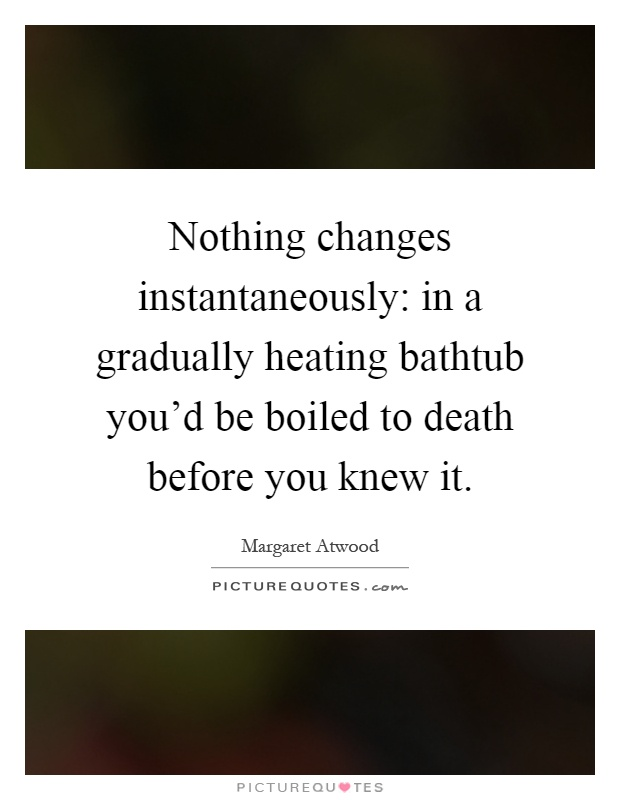 Nothing changes instantaneously: in a gradually heating bathtub you'd be boiled to death before you knew it Picture Quote #1
