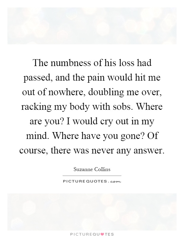 The numbness of his loss had passed, and the pain would hit me out of nowhere, doubling me over, racking my body with sobs. Where are you? I would cry out in my mind. Where have you gone? Of course, there was never any answer Picture Quote #1