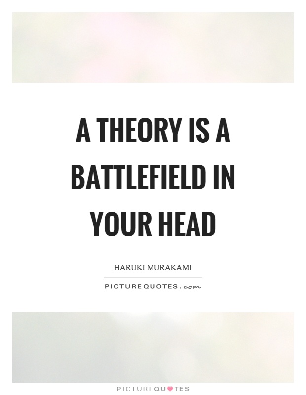 A theory is a battlefield in your head Picture Quote #1