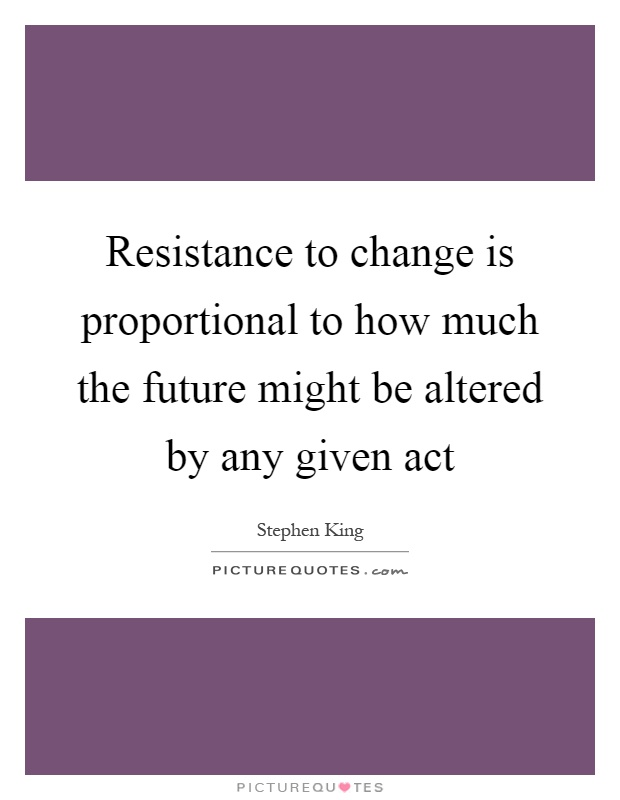 Resistance to change is proportional to how much the future might be altered by any given act Picture Quote #1