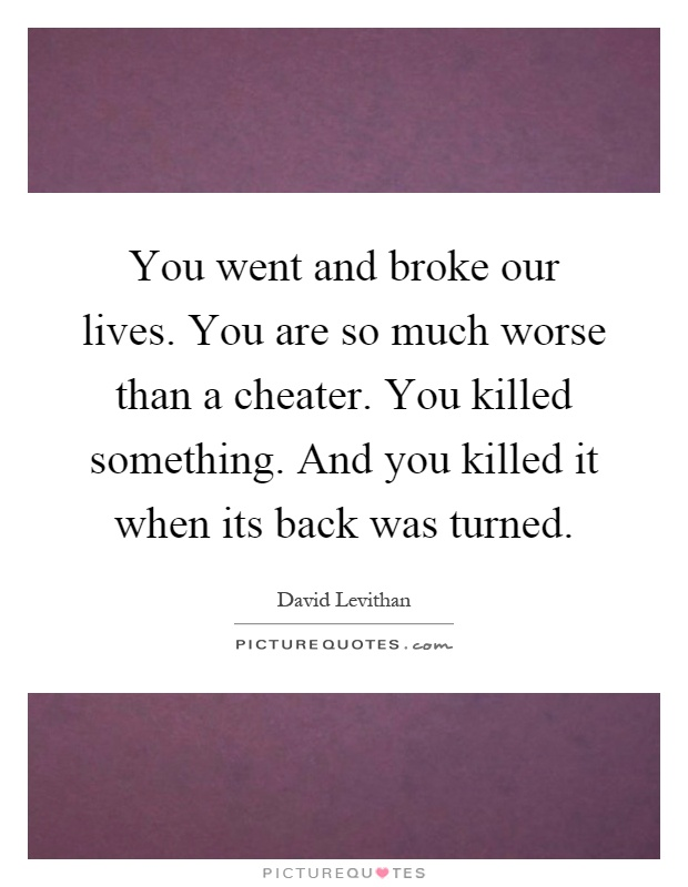 You went and broke our lives. You are so much worse than a cheater. You killed something. And you killed it when its back was turned Picture Quote #1