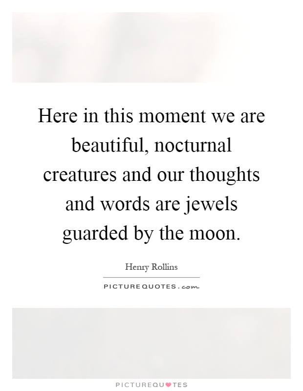 Here in this moment we are beautiful, nocturnal creatures and our thoughts and words are jewels guarded by the moon Picture Quote #1