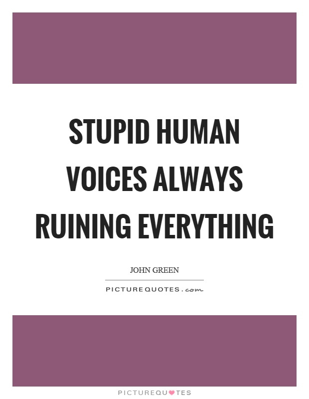 Stupid human voices always ruining everything Picture Quote #1