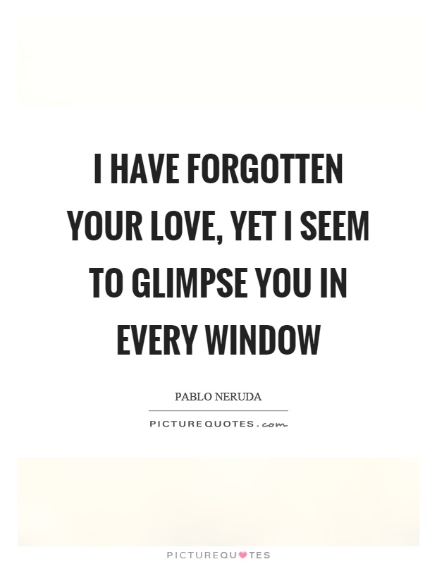 I have forgotten your love, yet I seem to glimpse you in every window Picture Quote #1