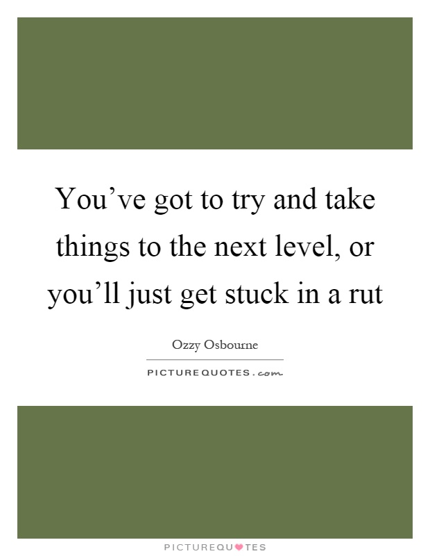 You've got to try and take things to the next level, or you'll just get stuck in a rut Picture Quote #1