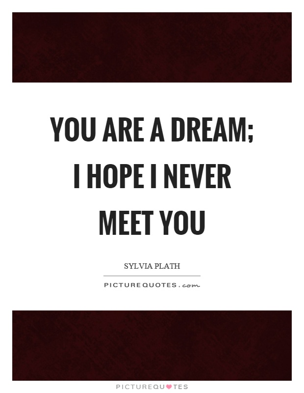 You are a dream; I hope I never meet you Picture Quote #1