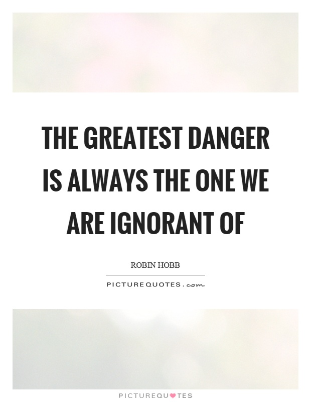 The greatest danger is always the one we are ignorant of Picture Quote #1