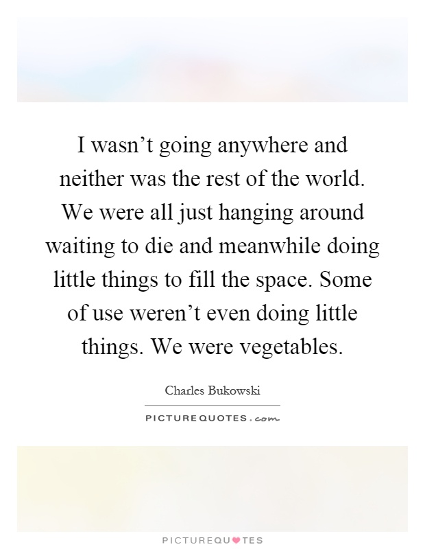 I wasn't going anywhere and neither was the rest of the world. We were all just hanging around waiting to die and meanwhile doing little things to fill the space. Some of use weren't even doing little things. We were vegetables Picture Quote #1