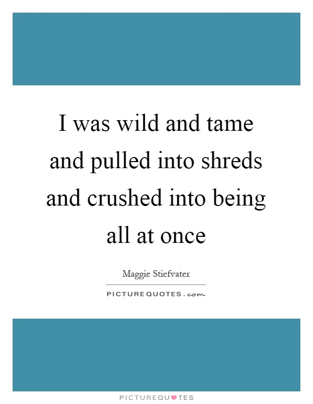 I was wild and tame and pulled into shreds and crushed into being all at once Picture Quote #1