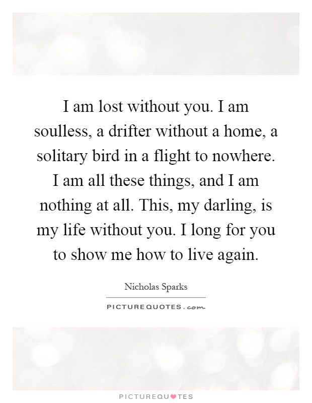 I am lost without you. I am soulless, a drifter without a home, a solitary bird in a flight to nowhere. I am all these things, and I am nothing at all. This, my darling, is my life without you. I long for you to show me how to live again Picture Quote #1
