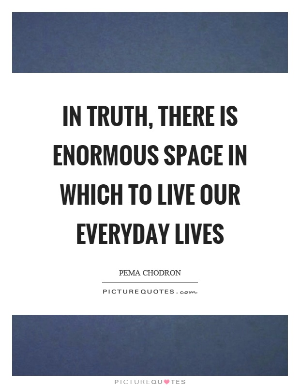 In truth, there is enormous space in which to live our everyday lives Picture Quote #1