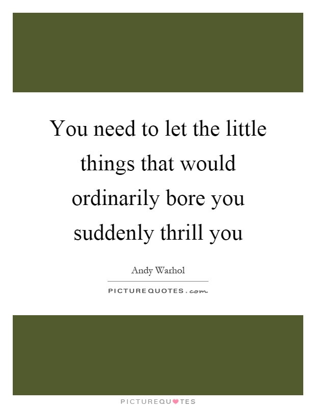 You need to let the little things that would ordinarily bore you suddenly thrill you Picture Quote #1