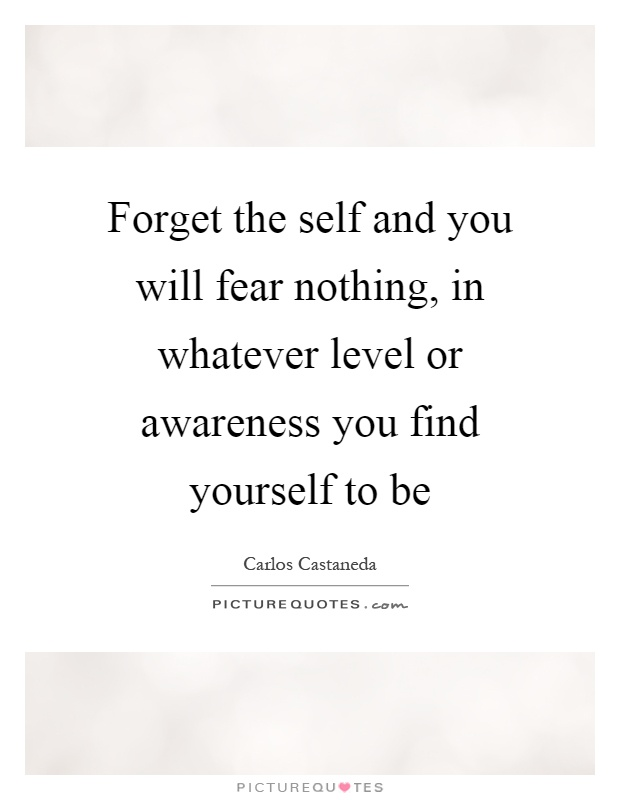 Forget the self and you will fear nothing, in whatever level or awareness you find yourself to be Picture Quote #1