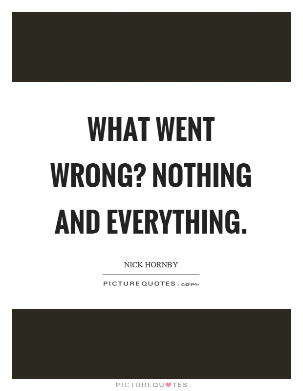 What went wrong? Nothing and everything Picture Quote #1