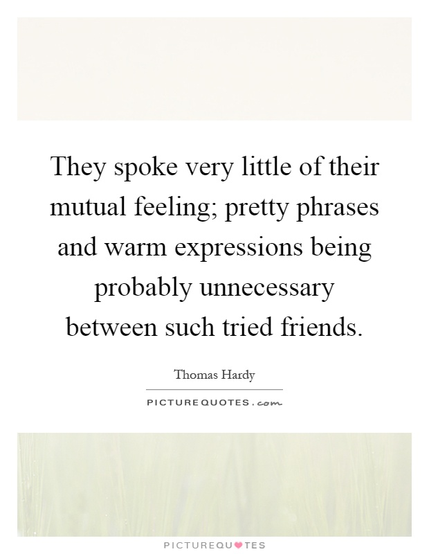 They spoke very little of their mutual feeling; pretty phrases and warm expressions being probably unnecessary between such tried friends Picture Quote #1