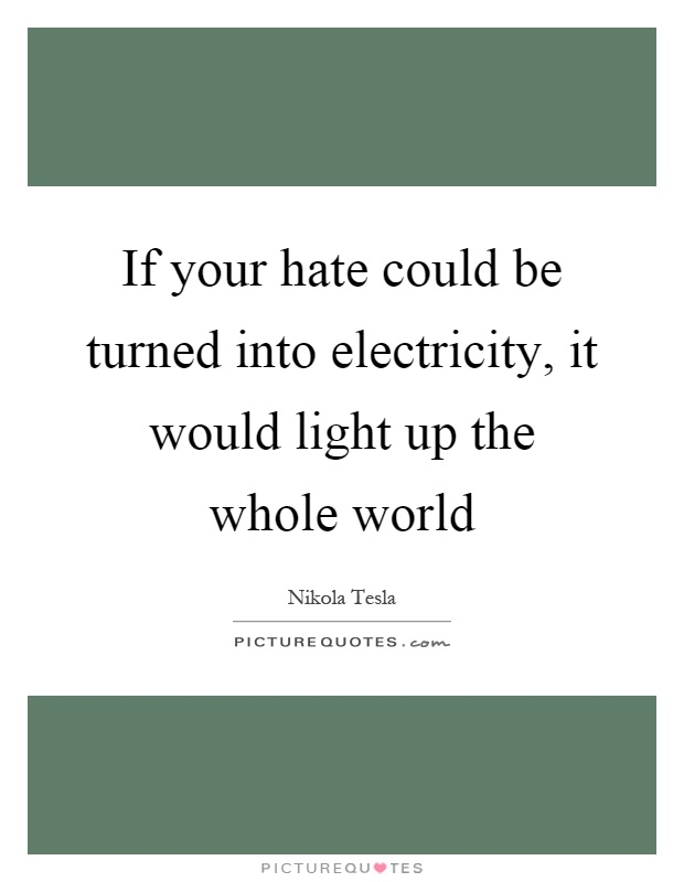If your hate could be turned into electricity, it would light up the whole world Picture Quote #1