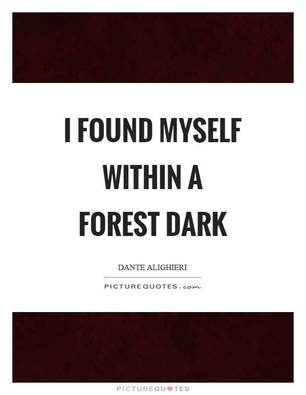I found myself within a forest dark Picture Quote #1