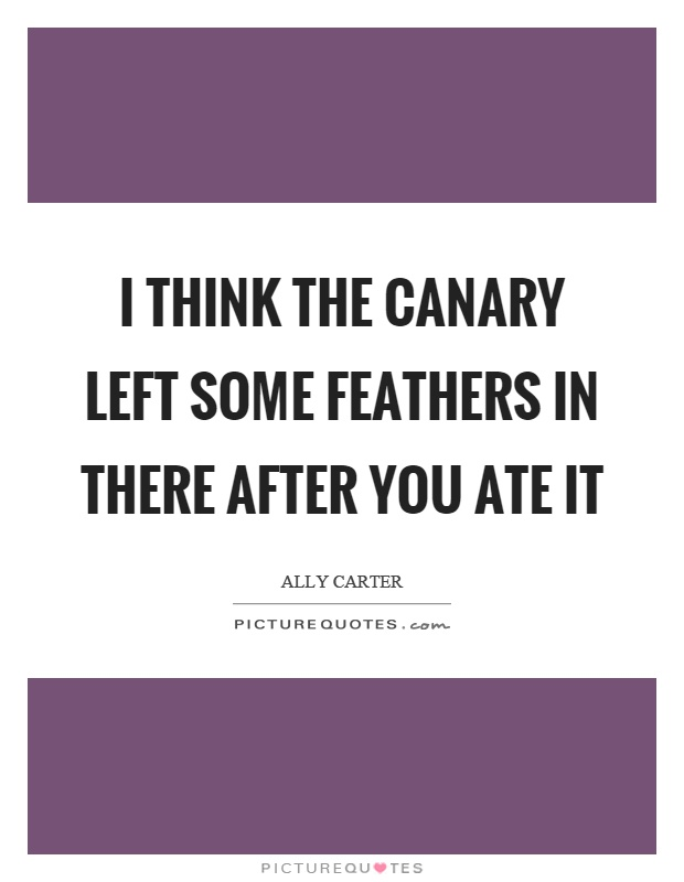 I think the canary left some feathers in there after you ate it Picture Quote #1