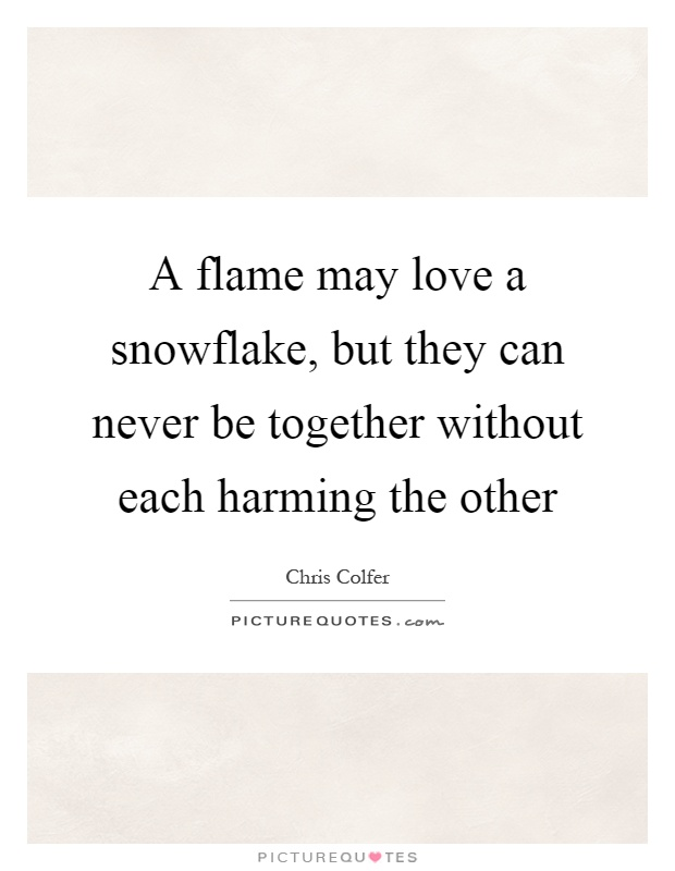 Snowflake Love Quotes Awesome A Flame May Love A Snowflake But They Can Never Be Together