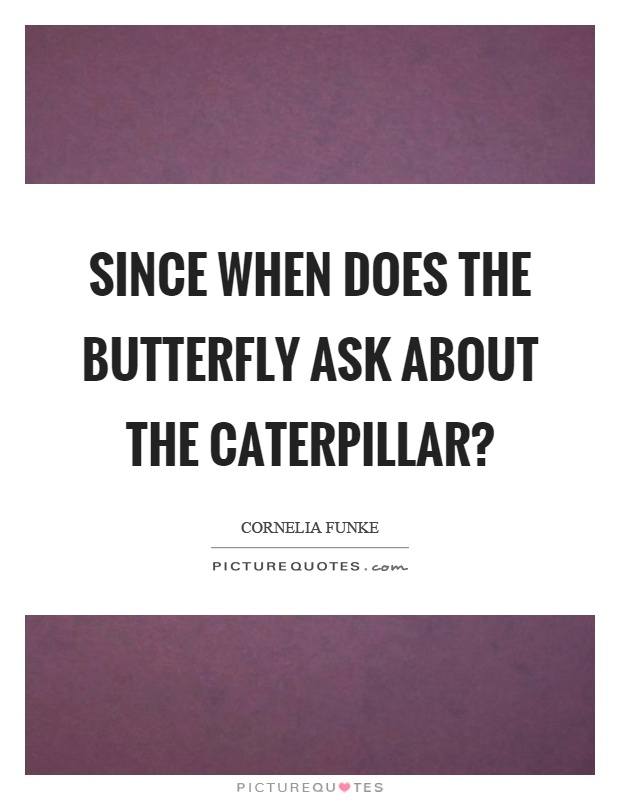 Since when does the butterfly ask about the caterpillar? Picture Quote #1